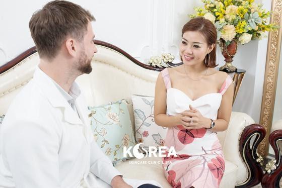 Diễn viên Thanh Hương cảm ơn bác sĩ đã tìm lại thân hình mơ ước cho mình và giành thời gian giải thích cho cô về công nghệ Max Thin Lipo