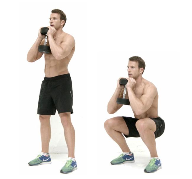 Squat đổi tạ tay - Bài tập giảm mỡ bụng cho nam