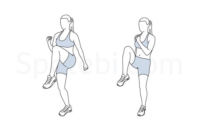 Bài tập giảm mỡ toàn thân cho nữ tại nhà High Kneesđốt mỡ hiệu quả