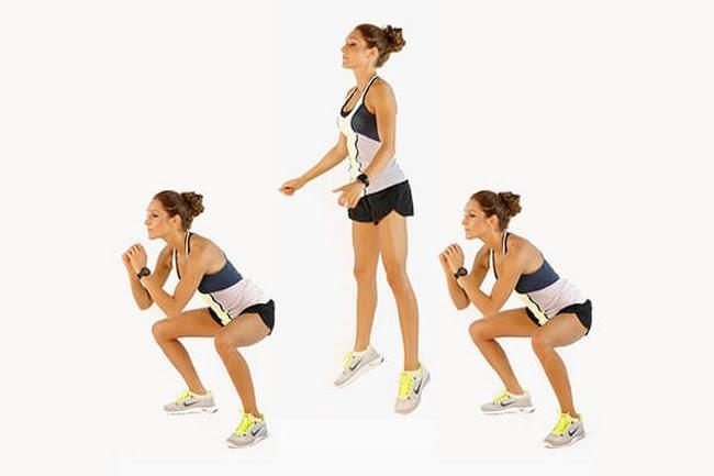 Bài tập giảm cân toàn thân Squat Jumps giúp săn chắc vòng 3