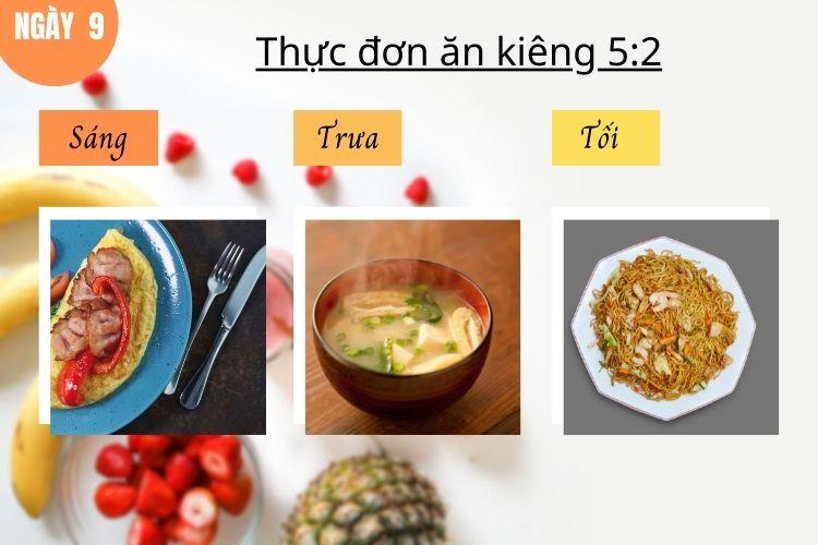 Thực đơn ăn kiêng 5:2 ngày 9