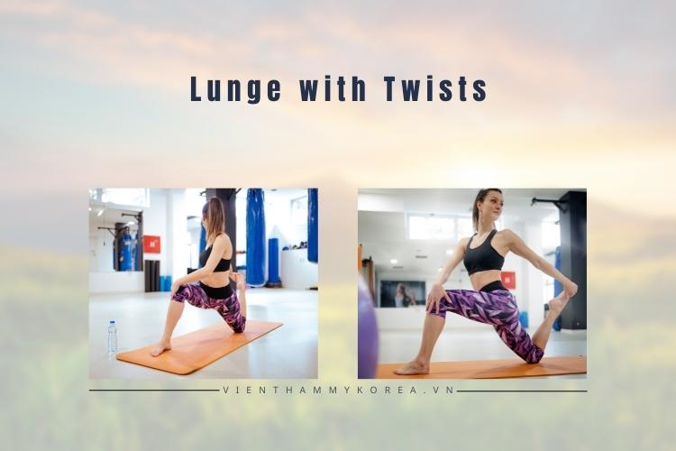 Các bài tập thể dục giảm mỡ bụng hiệu quả: Lunge with Twists