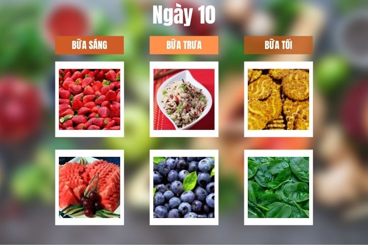 Thực đơn ăn kiêng 5:2 ngày 10