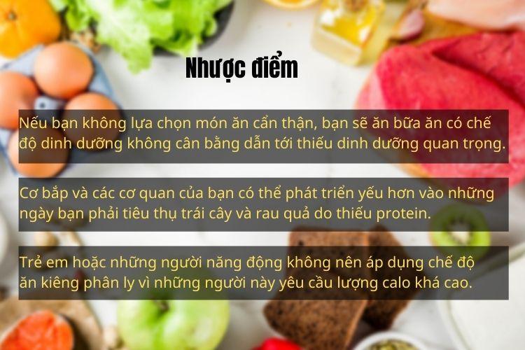 Nhược điểm của chế độ ăn kiêng phân ly