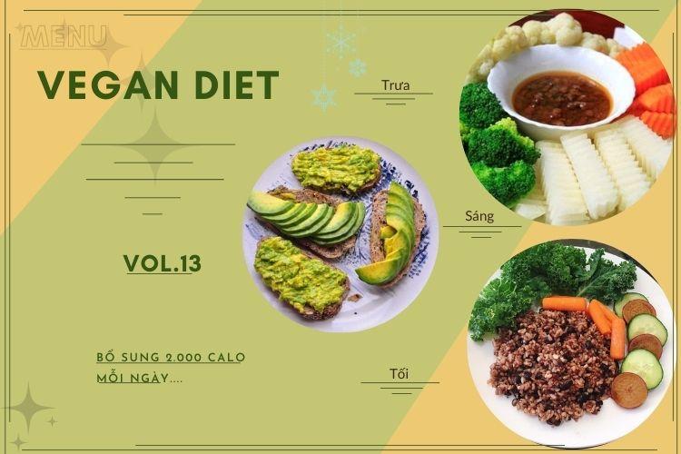 Thực đơn ăn kiêng Vegan diet (ăn thuần chay) ngày 13