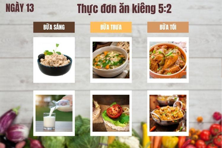 Thực đơn ăn kiêng 5:2 ngày 13