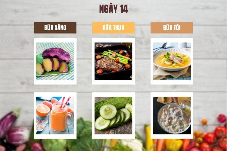 Thực đơn ăn kiêng 1.200 calo 14 ngày ngày 14