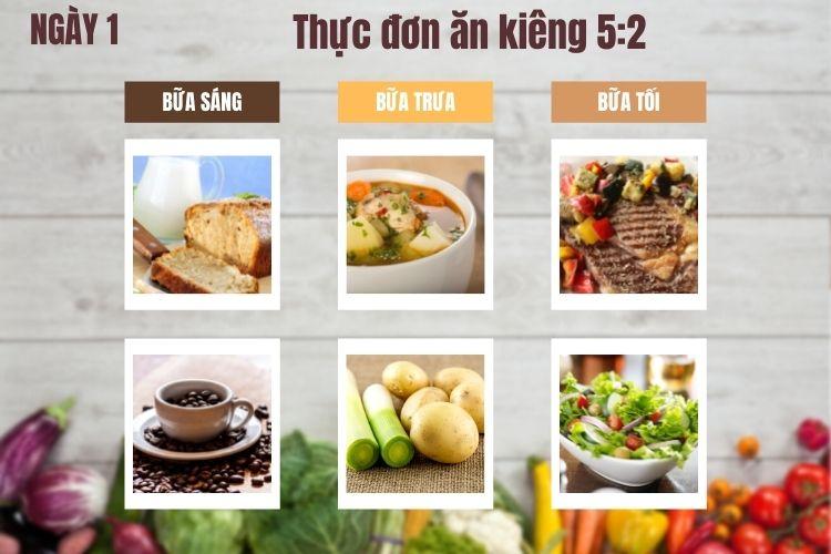 Thực đơn ăn kiêng 5:2 ngày 1