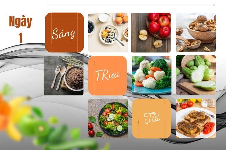 Thực đơn chế độ ăn kiêng chay ngày 1
