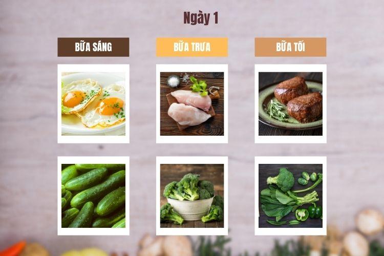 Thực đơn ăn kiêng low carb 7 ngày ngày 1