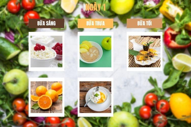 Thực đơn ăn kiêng 1200 calo ngày 1