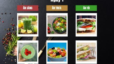 Thực đơn ăn kiêng với thực phẩm thô ngày 1