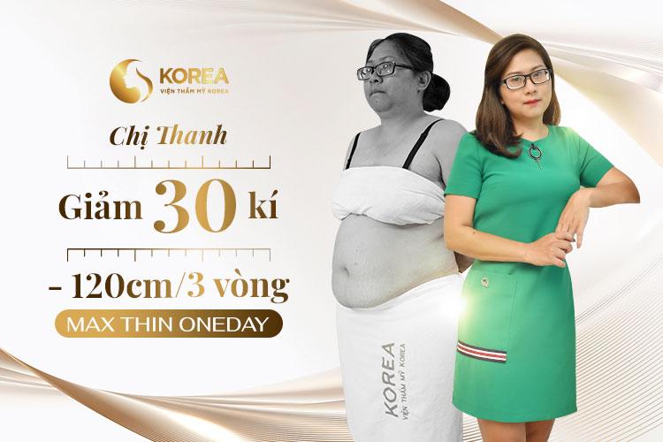 Hình ảnh trước - sau của chị Nguyễn Thị Thanh sau khi giảm béo hiệu quả bằng công nghệ Max Thin OneDay