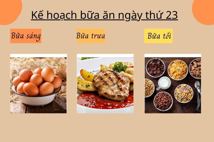 Kế hoạch bữa ăn ngày thứ 23
