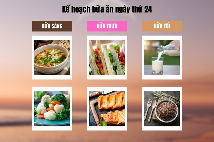 Kế hoạch bữa ăn ngày thứ 24