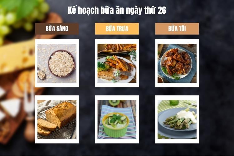 Kế hoạch bữa ăn ngày thứ 26