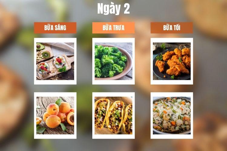Thực đơn ăn kiêng 5:2 ngày 2