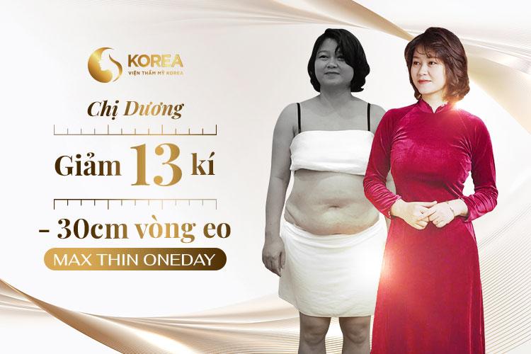 Hình ảnh trước - sau của chị Dương sau khi giảm béo bằng công nghệ Max Thin Oneday