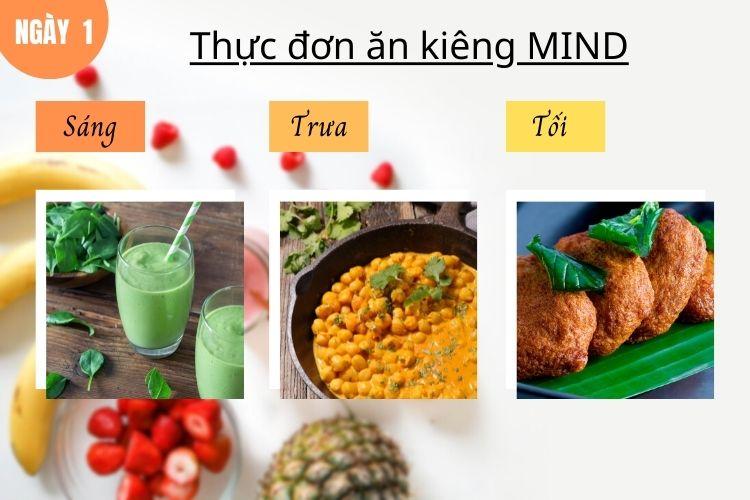 Thực đơn ăn kiêng Mind ngày 1