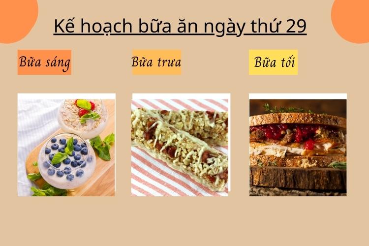 Kế hoạch bữa ăn ngày thứ 29