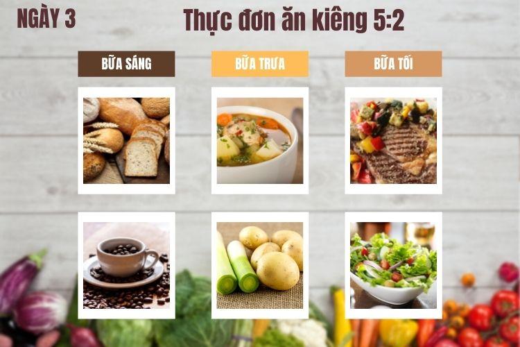 Thực đơn ăn kiêng 5:2 ngày 3