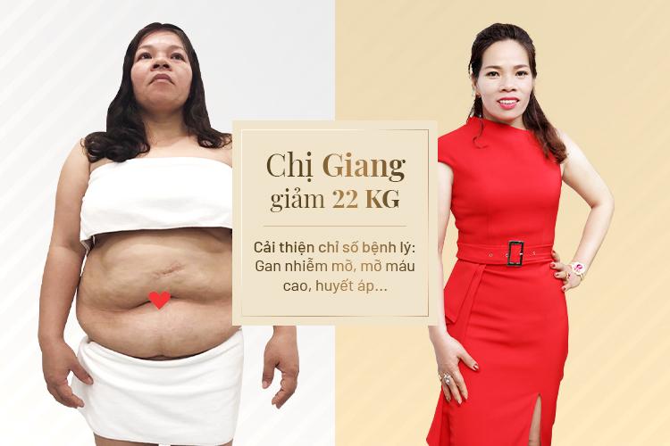 Cũng như bao khách hàng khác, chị Giang cải thiện các bệnh lý của mình rất tốt ngay sau khi giảm được cân