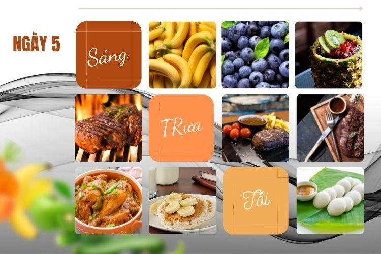 Thực đơn ăn kiêng 5:2 ngày 5
