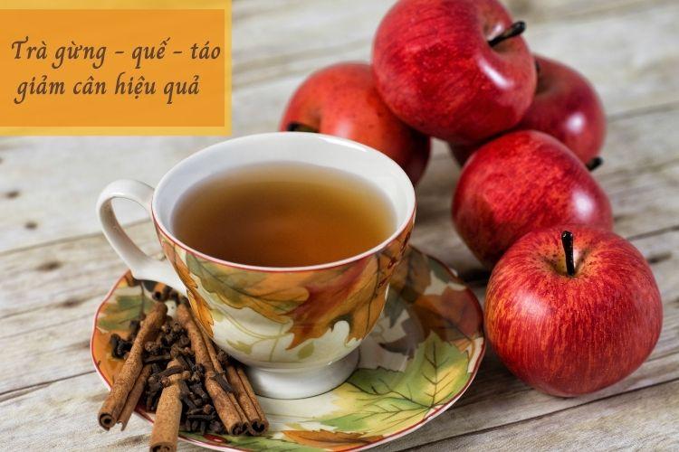 Cách làm trà gừng với táo và quế