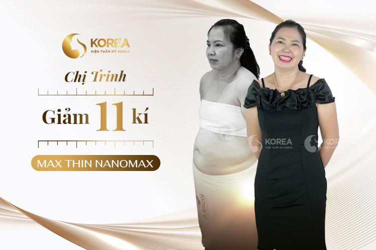 Chị Trinh chia sẻ cảm xúc vui vẻ sau khi giảm được 12kg sau liệu trình 2 tháng với Max Thin Nanomax