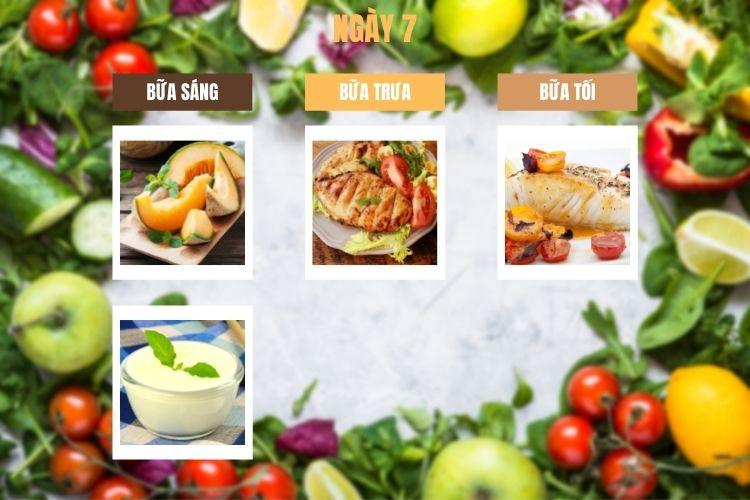 Thực đơn ăn kiêng 1200 calo ngày 7