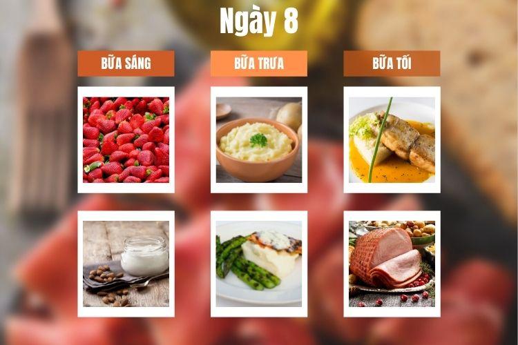 Thực đơn ăn kiêng 5:2 ngày 8
