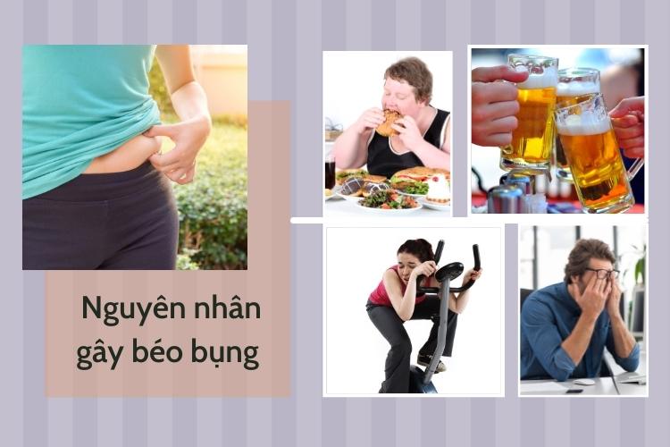 Chế độ ăn uống không điều độ, ít vận động, không tập thể dục và căng thẳng là nguyên nhân chính tạo điều kiện cho béo bụng, mỡ bụng xuất hiện