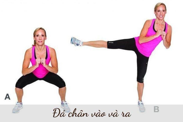 Động tác đá chân vào và ra giảm mỡ bụng