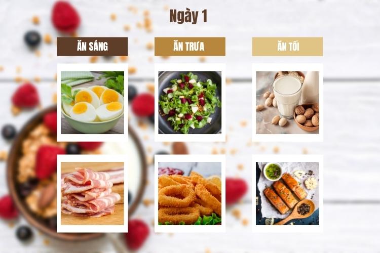 Thực đơn ăn kiêng giảm cân Keto ngày 1