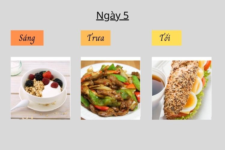 Thực đơn ăn kiêng giảm cân Keto ngày 5